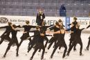 Synchronized skating team on ice