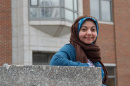 UNH student Yussra Ebrahim outside Rudman on campus