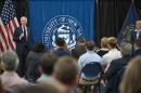 UNH President Mark Huddleston speaking at an open forum