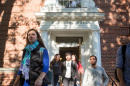 Students exiting Murkland Hall at the University of New Hampshire
