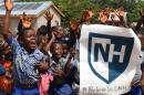 Ghanaian children cheering