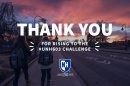 UNH students walking toward Thompson Hall at sunset with text saying thank you for rising to the #UNH603 Challenge