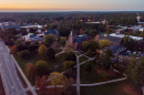 an aerial view of sunrise over UNH's Durham campus