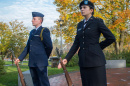 Two UNH ROTC students holding vigil at flag at Thompson Hall