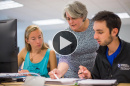 UNH professor Diane Foster with students