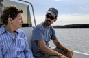 Senator Jeanne Shaheen speaking with Jay Baker, owner of Fat Dog Oysters about his underwater oyster farm in Little Bay
