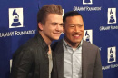 UNH alumnus Jared Cassedy (right) poses with country singer Hunter Hayes while in Los Angeles to accept the 2015 Music Educator of the Year award from the Grammy Foundation.