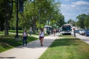 UNH students walking down Main Street in Durham