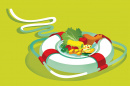 illustration of a life preserver with food in it