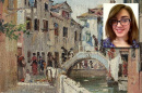 Painting of canal in Venice by Rafail Sergeevich Levitsky. Photo of Caitlin Truesdale inset.