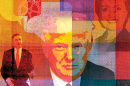 illustration of Donald Trump, Barack Obama and Hillary Clinton by Roy Scott