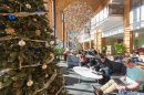 UNH Paul College students studying in the great room during the holidays