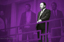 Martin Luther King, Jr. against a purple background