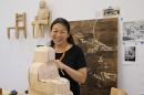 Sachiko Akiyama in her studio