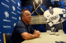 UNH men's hockey coach Dick Umile speaks at a press conference during September's media day in Durham. (DAVID LANE/UNION LEADER FILE)