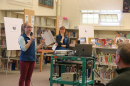 Lisa Graichen of NH Sea Grant and UNH Cooperative Extension and Amanda Stone of Extension speak to parents at a Climate in the Classroom event