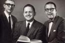 1962 photo of theatre professor Gil Davenport, John Edwards and Joseph Batcheller