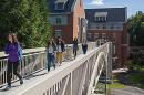 pedestrian bridge on campus