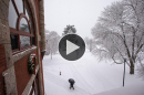 Thompson Hall at UNH during snowstorm