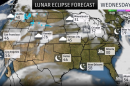 US map of the lunar eclipse weather forecast