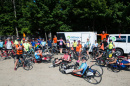 Athletes at the start of a 100-mile bicycle ride through New Hampshire's White Mountains