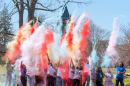Holi chalk toss in front of Thompson Hall at UNH