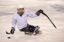 Dan Santos '17 practices sled hockey at the Whitt for the Northeast Passage Wildcats team