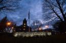 The University of New Hampshire's Thompson Hall at dusk