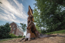 Tee sculpture at UNH by carving artist Tim Pickett