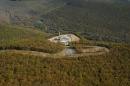 Fracking site shot from above in mountains of rural Pennsylvania
