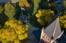 Thompson Hall and fall trees seen from above