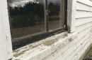 Photo showing a window with peeling, possibly hazardous lead-based paint.