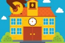 Graphic showing a school house with a person putting a coin into the roof of the school house.