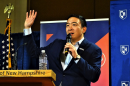 Presidential candidate Andrew Yang speaks at a University of New Hampshire podium at the Carsey School.