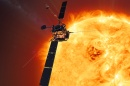Illustration of Solar Orbiter near the sun.