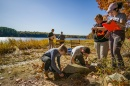 Meghan Howey works with student archaeology students on a dig near Great Bay.