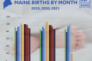 A graphic from the maine CDC showing birth rates from 2019-2021