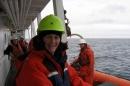 Jennifer Miksis-Olds aboard an ocean-going research vessel.