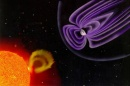 Image of Earth's magnetic field and solar flare from nearby sun.