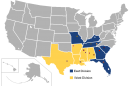 Map showing the SEC conference, divided into East and West divisions.