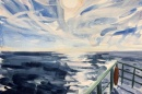 Watercolor of bow of boat with sun over ocean horizon.