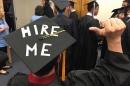 graduation cap reading hire me