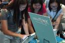 Students testing Mindflock triva game.