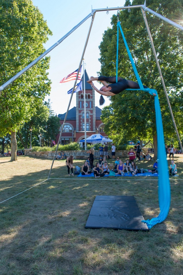 UNH aerial dance student at University Day