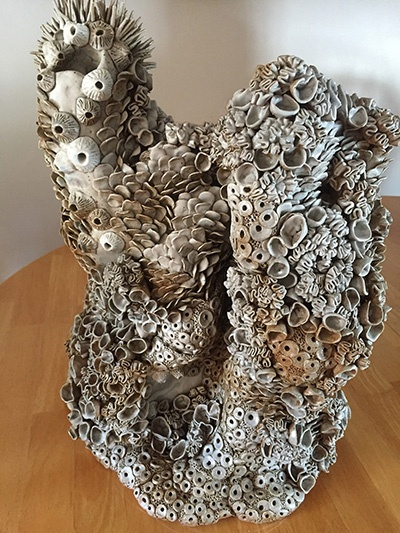a sculpture of bleached coral called Bleached Reef by UNH student Cierra Vigue '18