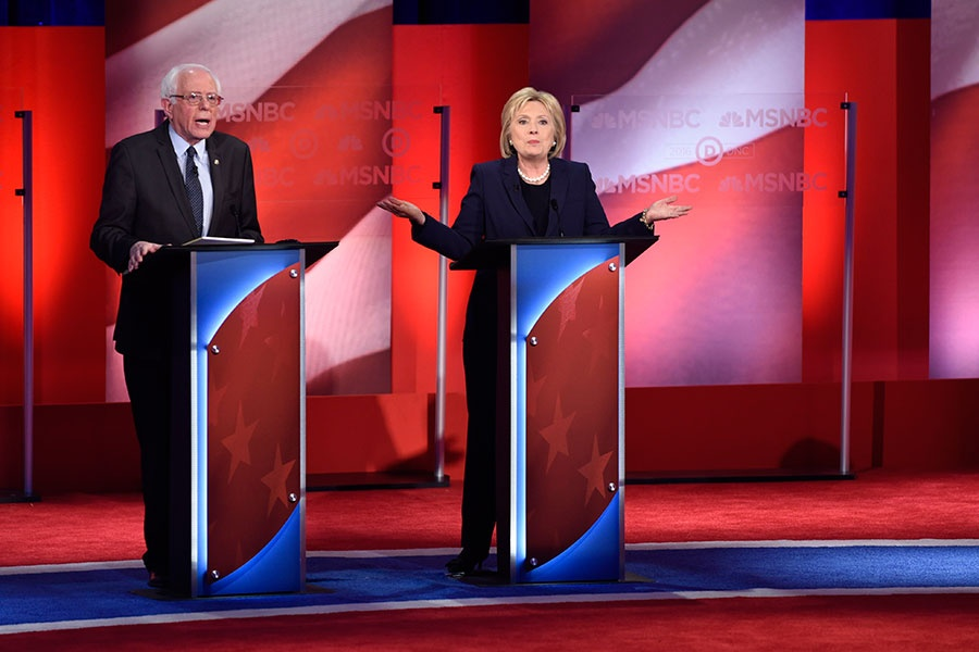 Bernie Sanders and Hillary Clinton at the Democratic presidential debate at UNH