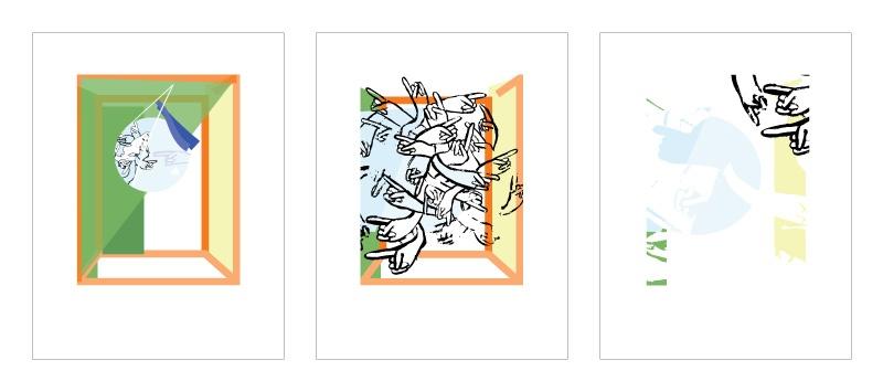 three illustrations called Swept #1-3 by UNH alumna Loren Marple '13