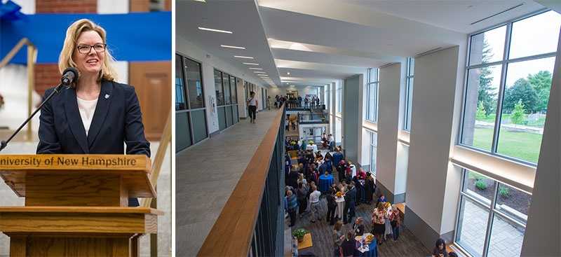 UNH COLA dean Heidi Bostic; inside the newly renovated Hamilton Smith Hall