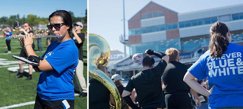 UNH marching band alumni playing at Homecoming