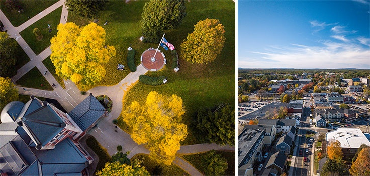 aerial views of UNH's Thompson Hall and downtown Durham, NH